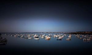 Blick auf den Hafen von Gravette