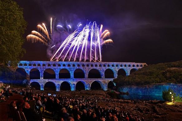 Pont du Gard sitio - espectáculo