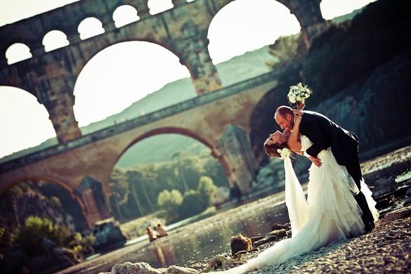 Sitio de Pont du Gard - boda en el puente de Gard - v. fórmica