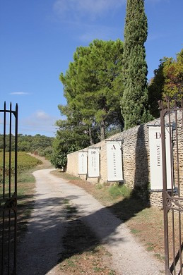 Domaine des escaunes - access to vineyards, fields of olive trees, main entrance.