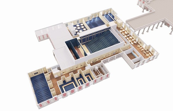 Puy du fou congress - plan of the molière theater. 3500m² of modularity.